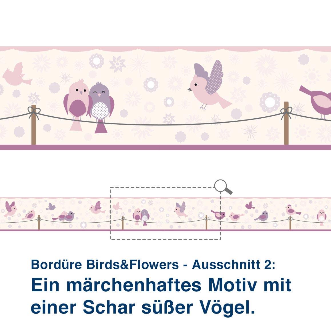 Bordüre Birds&Flowers - Ausschnitt 2:   Ein märchenhaftes Motiv mit  einer Schar süßer Vögel.