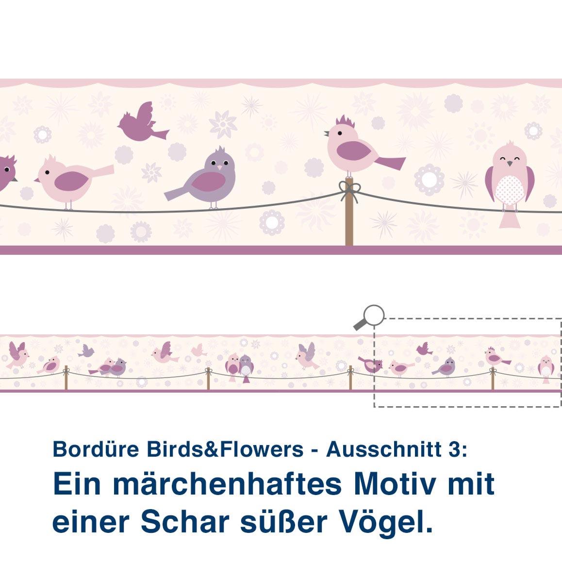 Bordüre Birds&Flowers - Ausschnitt 3:   Ein märchenhaftes Motiv mit  einer Schar süßer Vögel.