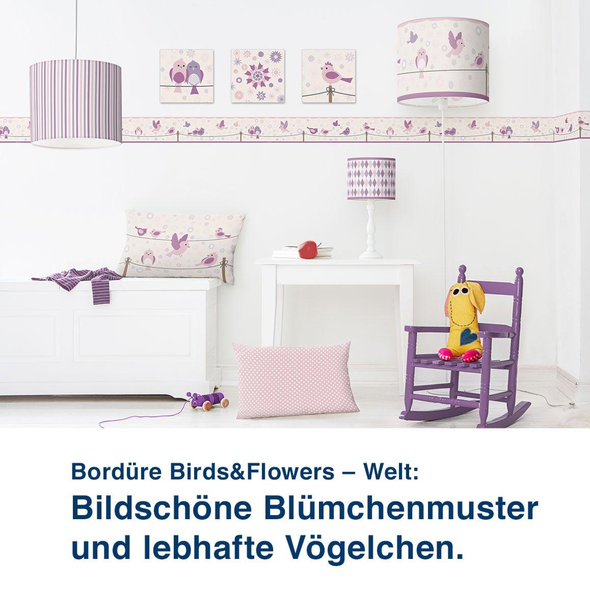Bordüre Birds&Flowers – Welt:  Bildschöne Blümchenmuster  und lebhafte Vögelchen.