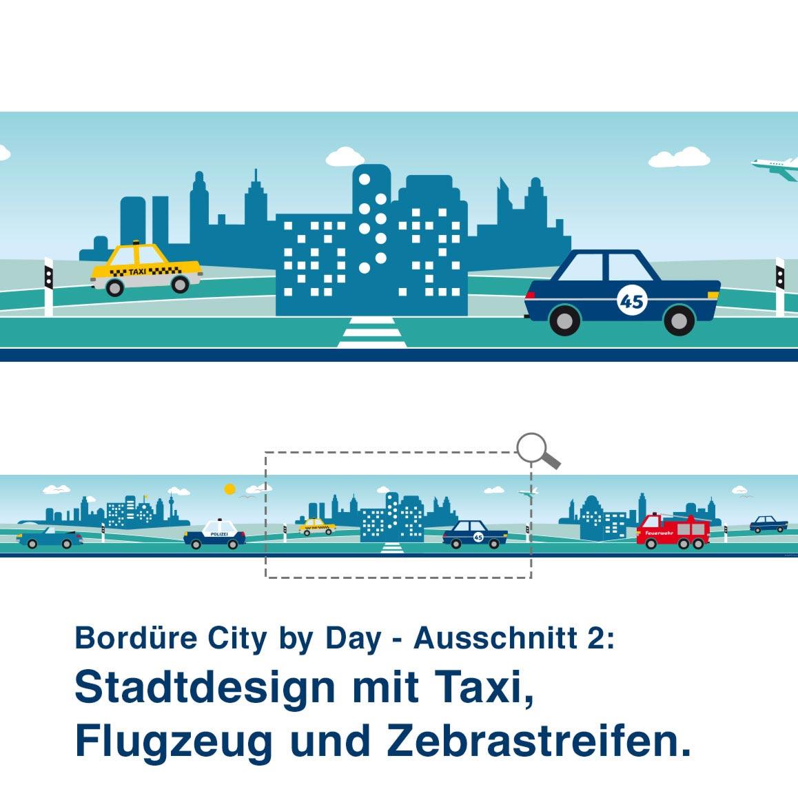 Bordüre City by Day - Ausschnitt 2:   Stadtdesign mit Taxi, Flugzeug und Zebrastreifen.
