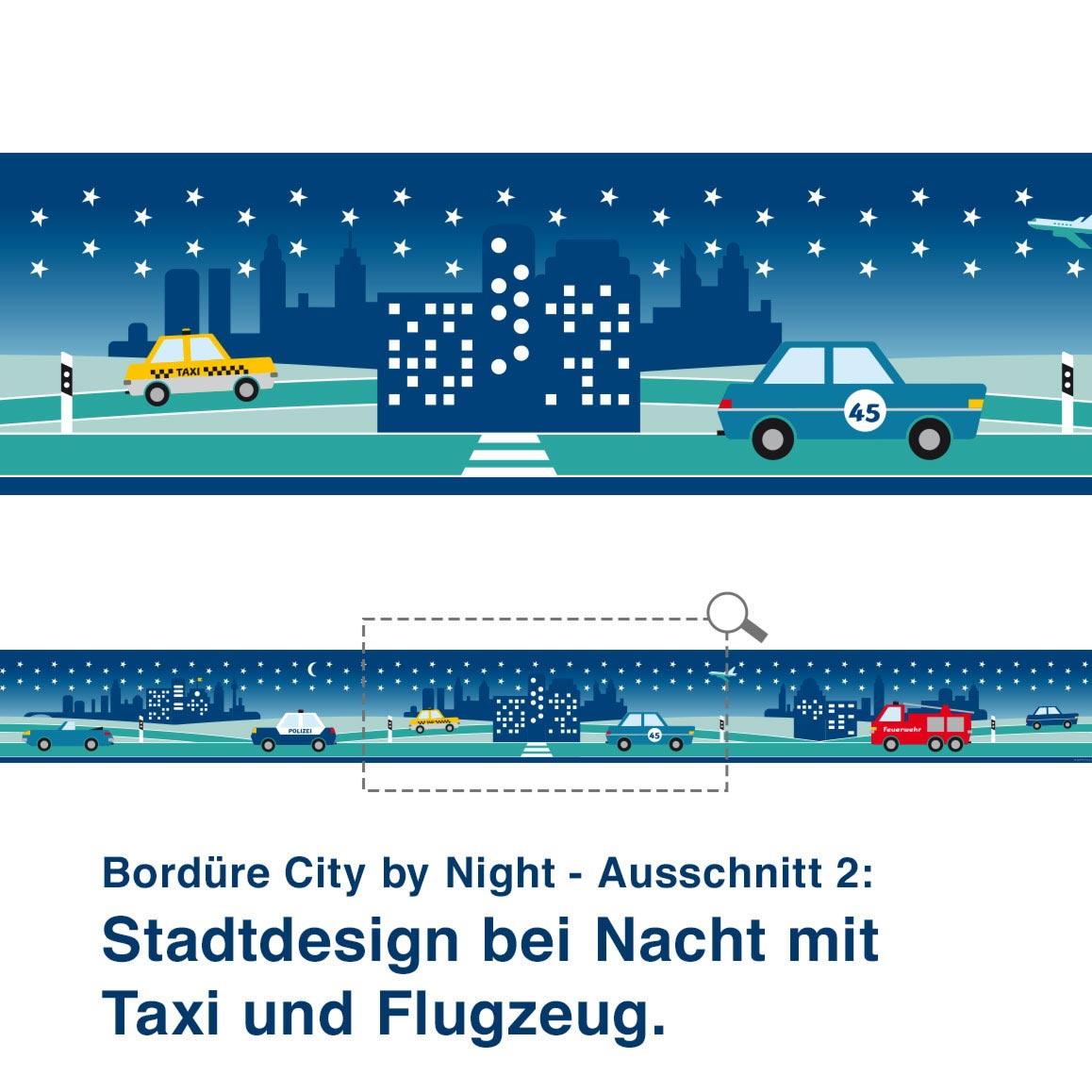 Bordüre City by Night - Ausschnitt 2:   Stadtdesign bei Nacht mit Taxi und Flugzeug.