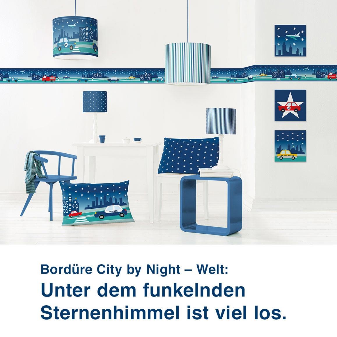 Bordüre City by Night – Welt:  Unter dem funkelnden  Sternenhimmel ist viel los.