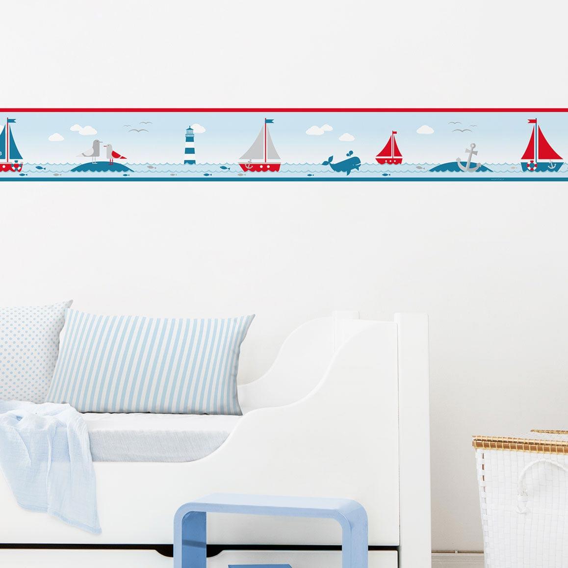 Bordüre fürs Kinderzimmer im maritimen Design, Sailing Red