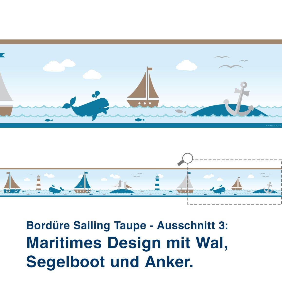 Bordüre Sailing Taupe - Ausschnitt 3:   Maritimes Design mit Wal, Segelboot und Anker.