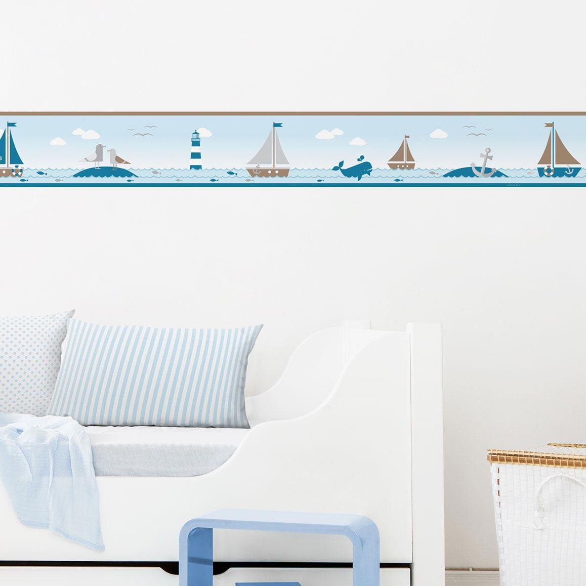 Bordüre fürs Kinderzimmer im maritimen Design, Sailing Taupe
