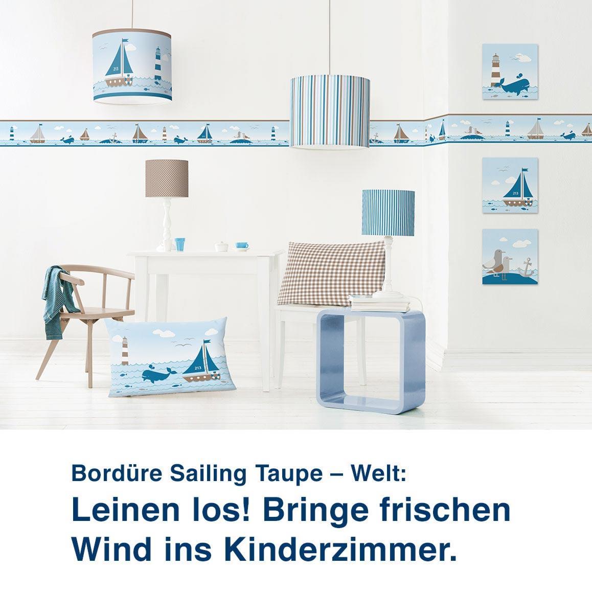 Bordüre der Sailing Taupe - Welt:  Leinen los! Frischer Wind für das Kinderzimmer.