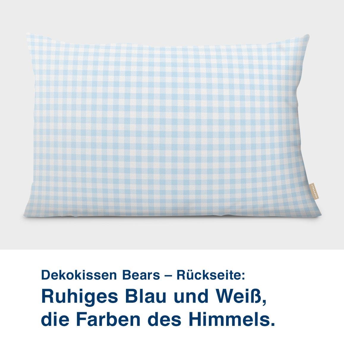 Dekokissen Bears – Rückseite:  Ruhiges Blau und Weiß, die Farben des Himmels.