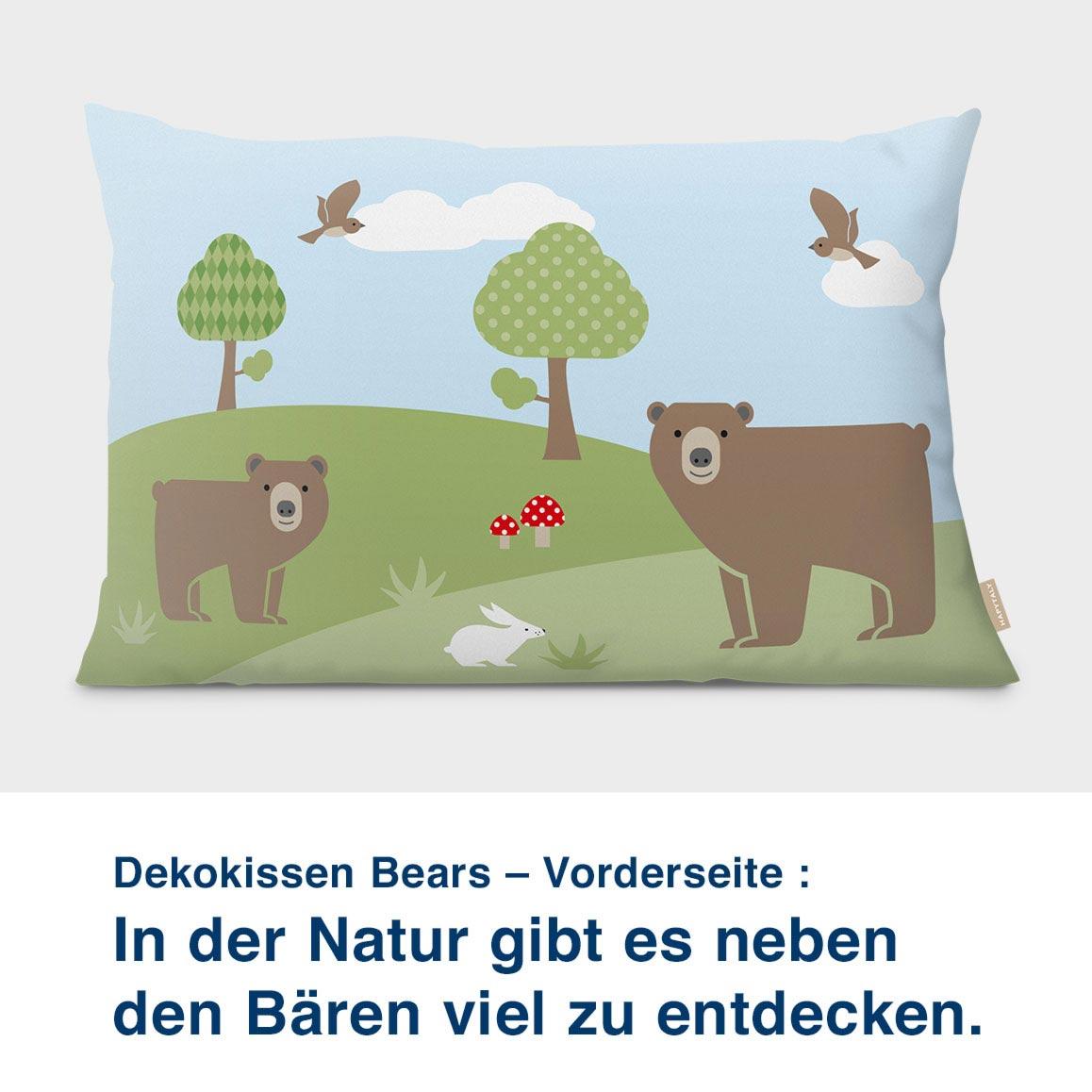 Dekokissen Bears – Vorderseite :  In der Natur gibt es neben  den Bären viel zu entdecken.