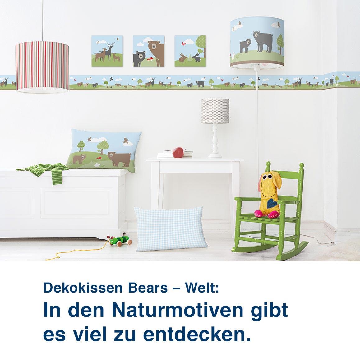 Dekokissen Bears – Welt:  In den Naturmotiven gibt  es viel zu entdecken.