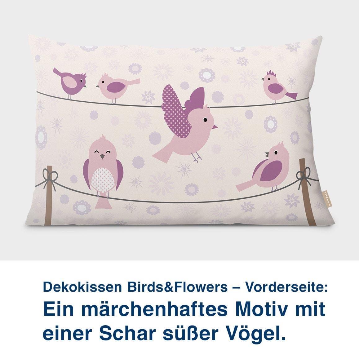 Dekokissen Birds&Flowers – Vorderseite:  Ein märchenhaftes Motiv mit  einer Schar süßer Vögel.