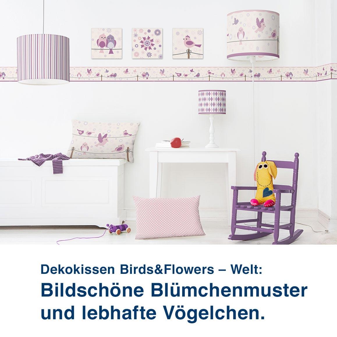 Dekokissen Birds&Flowers – Welt:  Bildschöne Blümchenmuster  und lebhafte Vögelchen.
