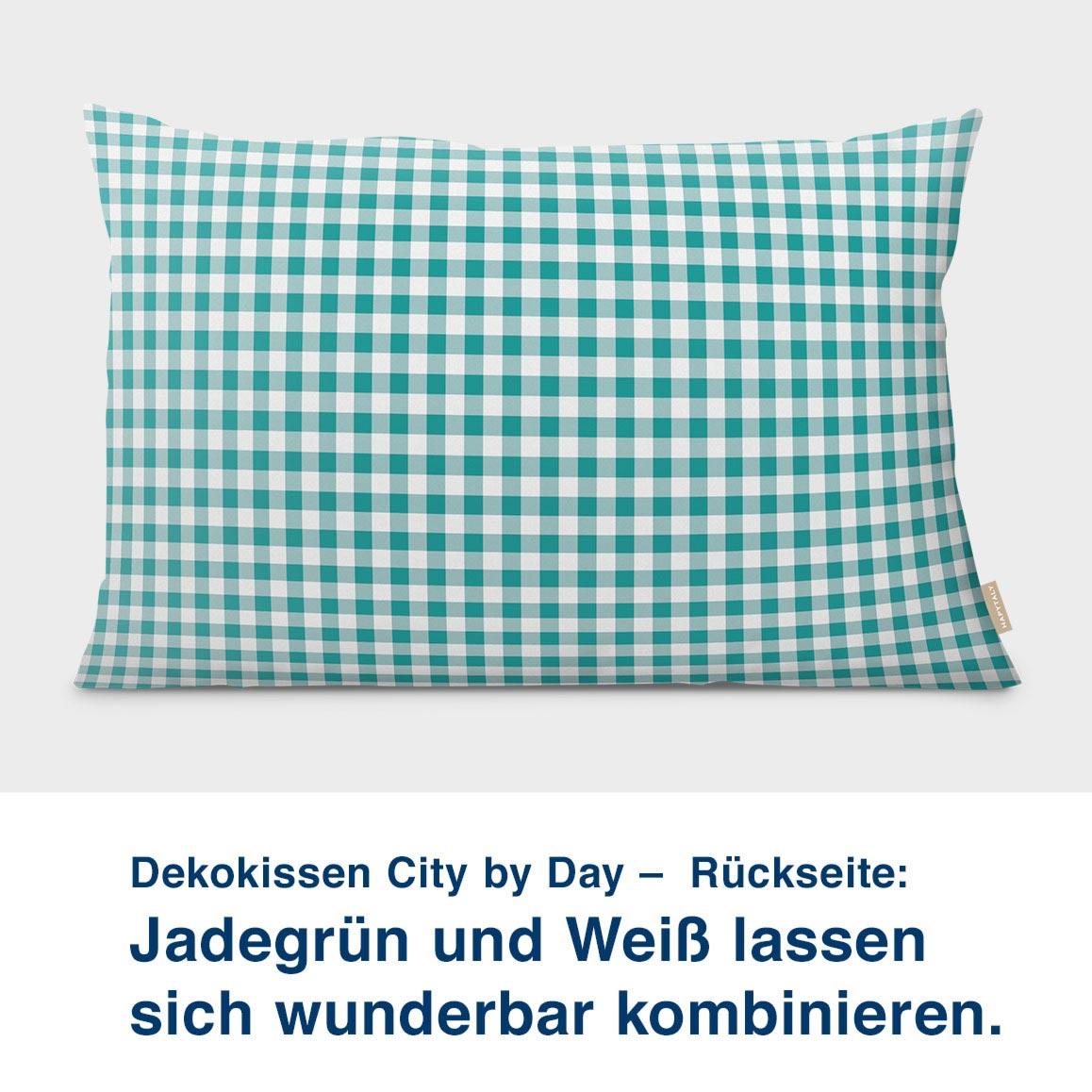 Dekokissen City by Day –  Rückseite:  Jadegrün und Weiß lassen  sich wunderbar kombinieren.