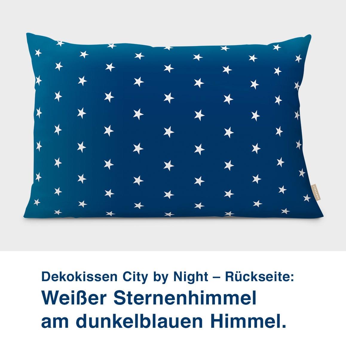 Dekokissen City by Night – Rückseite:  Weißer Sternenhimmel  am dunkelblauen Himmel.