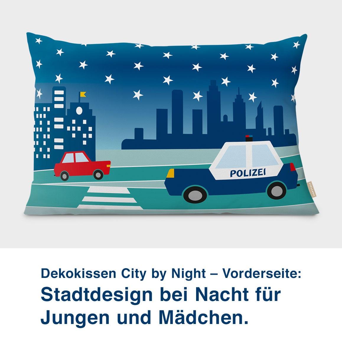 Dekokissen City by Night – Vorderseite:  Stadtdesign bei Nacht für  Jungen und Mädchen.