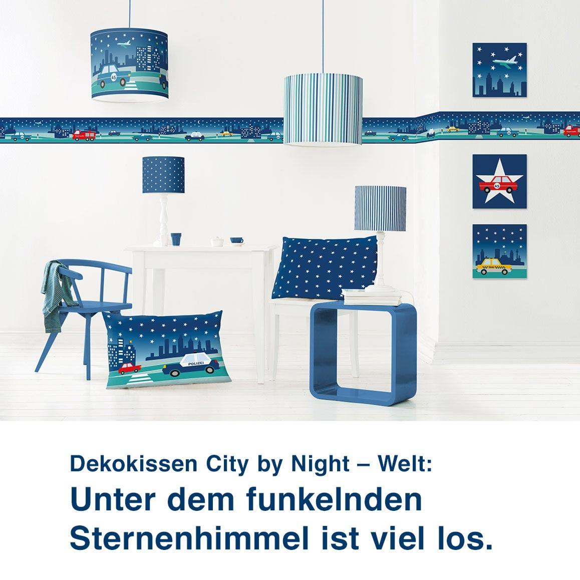Dekokissen City by Night – Welt:  Unter dem funkelndem  Sternenhimmel ist viel los.
