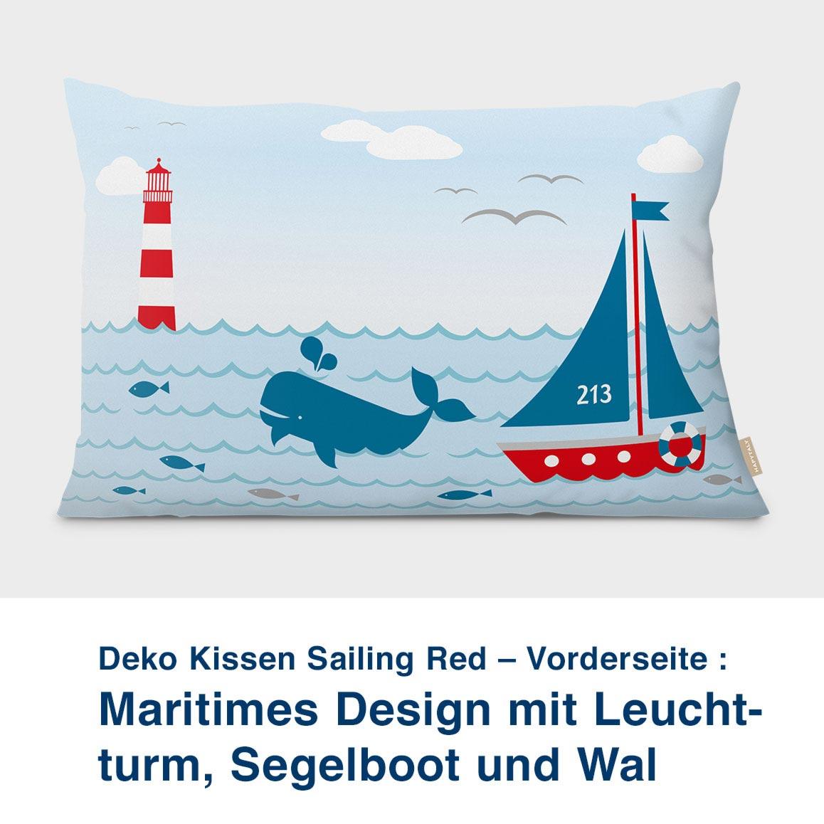 Kissen-Vorderseite, maritimes Design mit Leuchtturm, Sailing Red 60 x40 cm