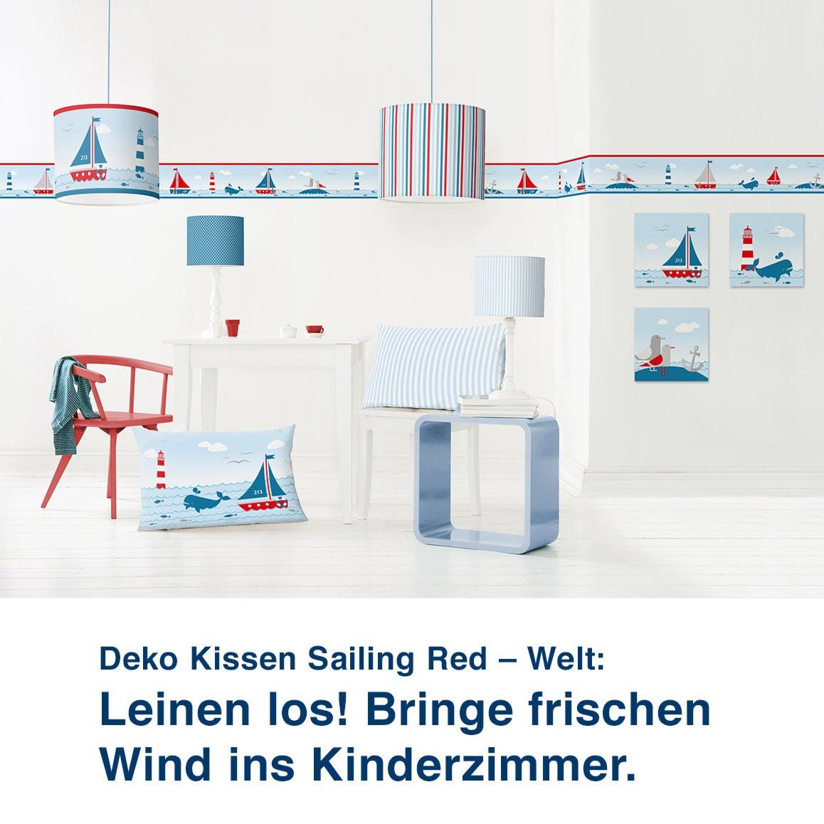 Motivwelt Sailing Red, maritimes Design mit Leuchtturm