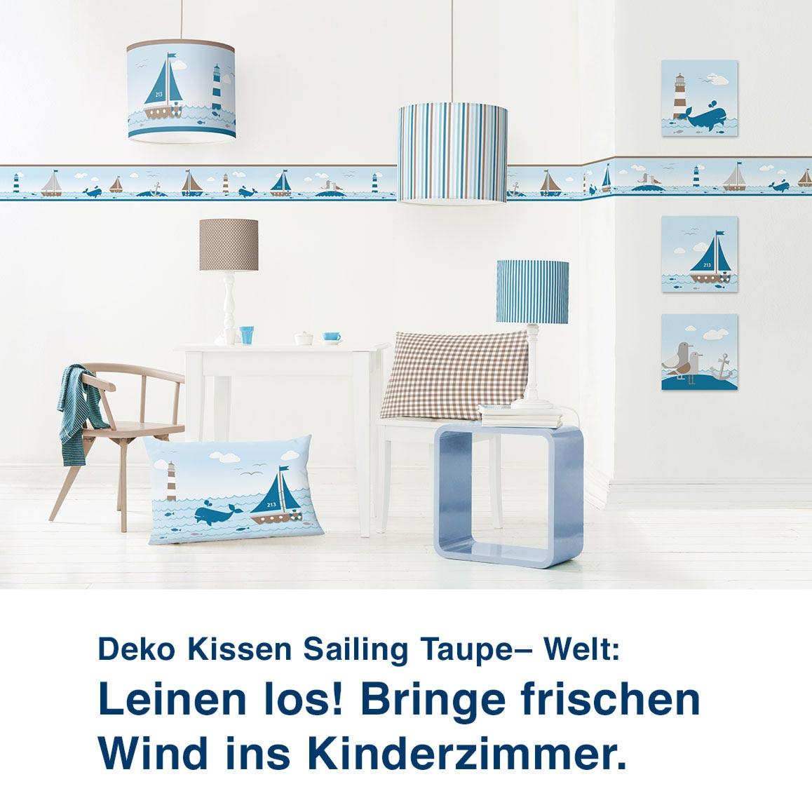 Motivwelt Sailing Taupe, maritimes Design mit Leuchtturm