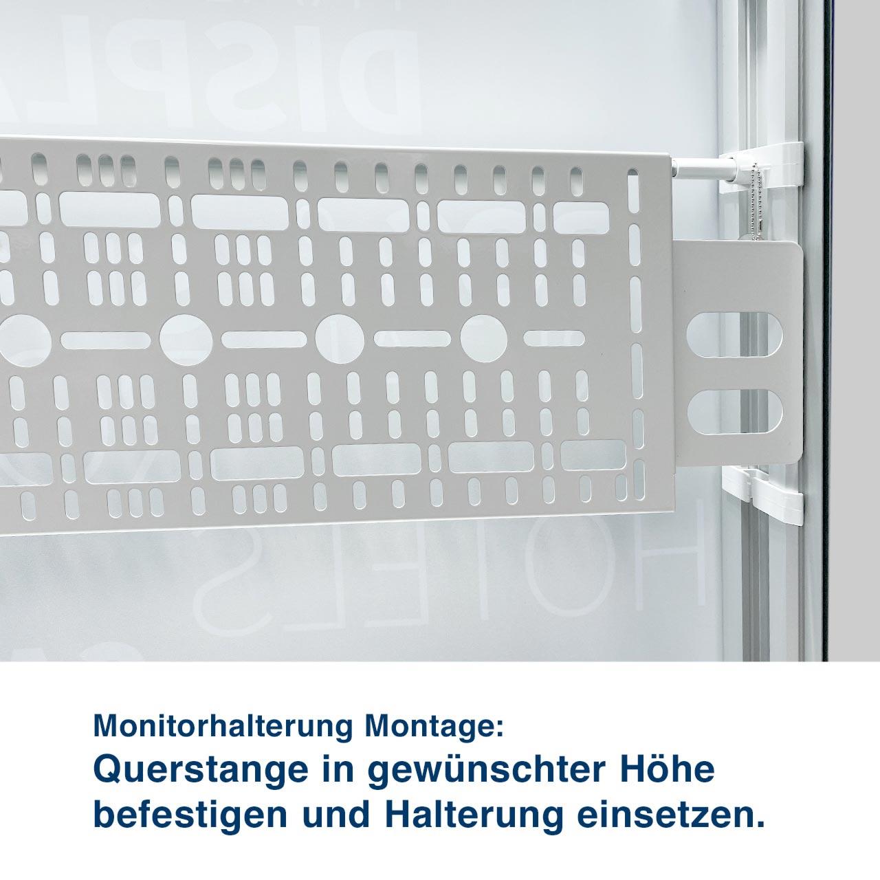 Monitorhalterung Montage:  Querstange in gewünschter Höhe  befestigen und Halterung einsetzen.