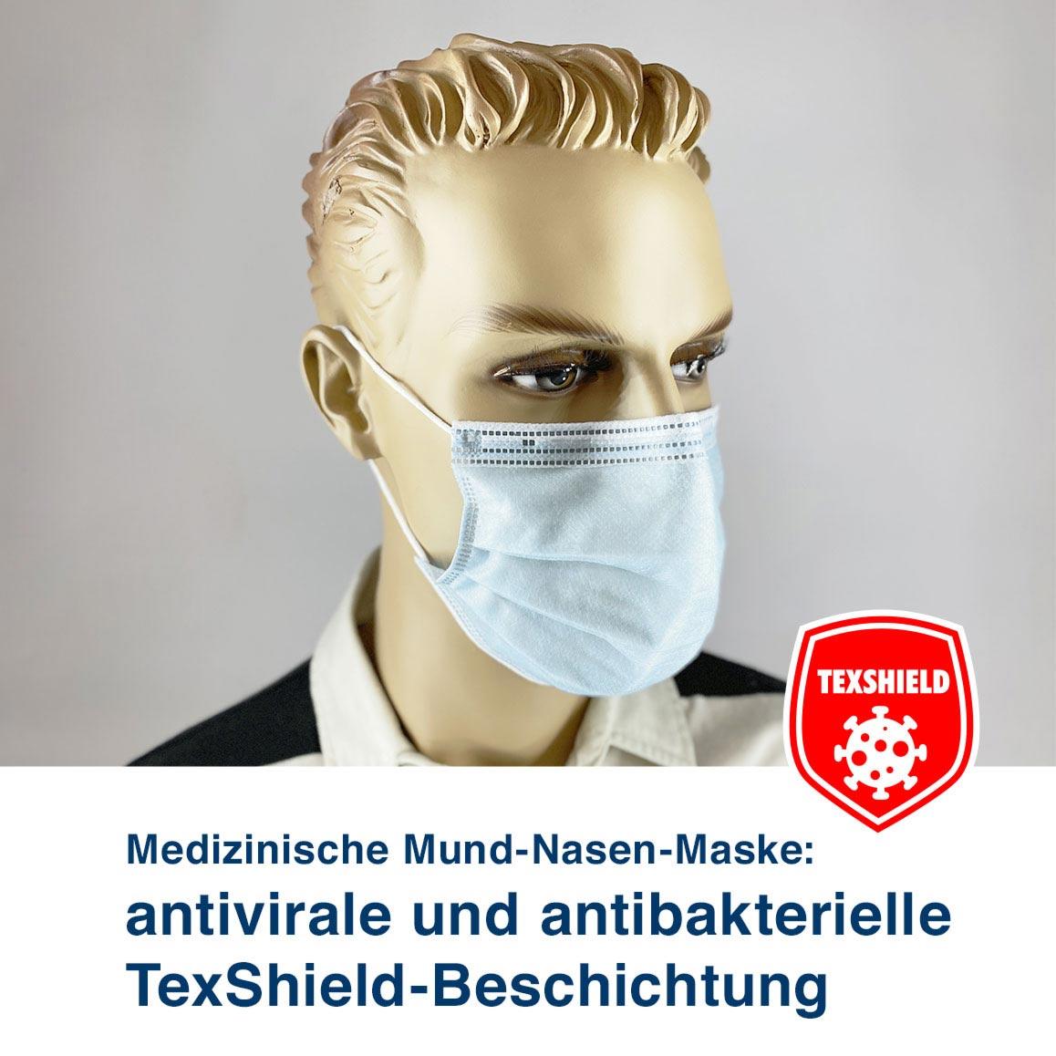Medizinische Mund-Nasen-Maske:  antivirale und antibakterielle  TexShield-Beschichtung
