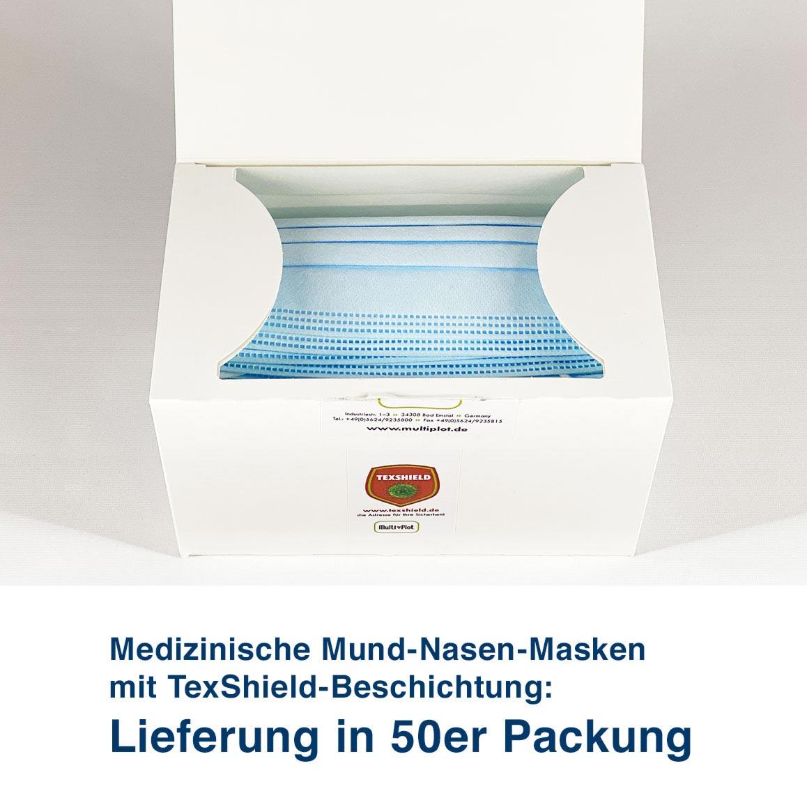 Medizinische Mund-Nasen-Masken mit TexShield-Beschichtung:  Lieferung in 50er Packung