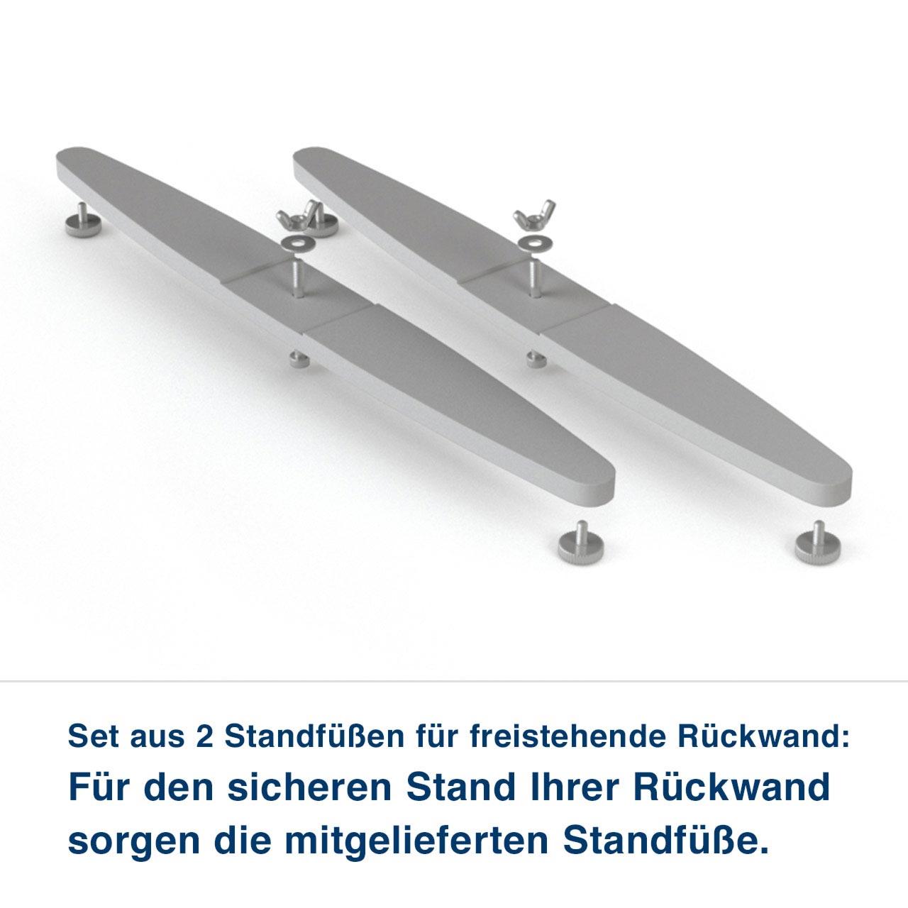 Set aus 2 Standfüßen für freistehende Rückwand:   Für den sicheren Stand Ihrer Rückwand liefern wir Standfüße mit. für