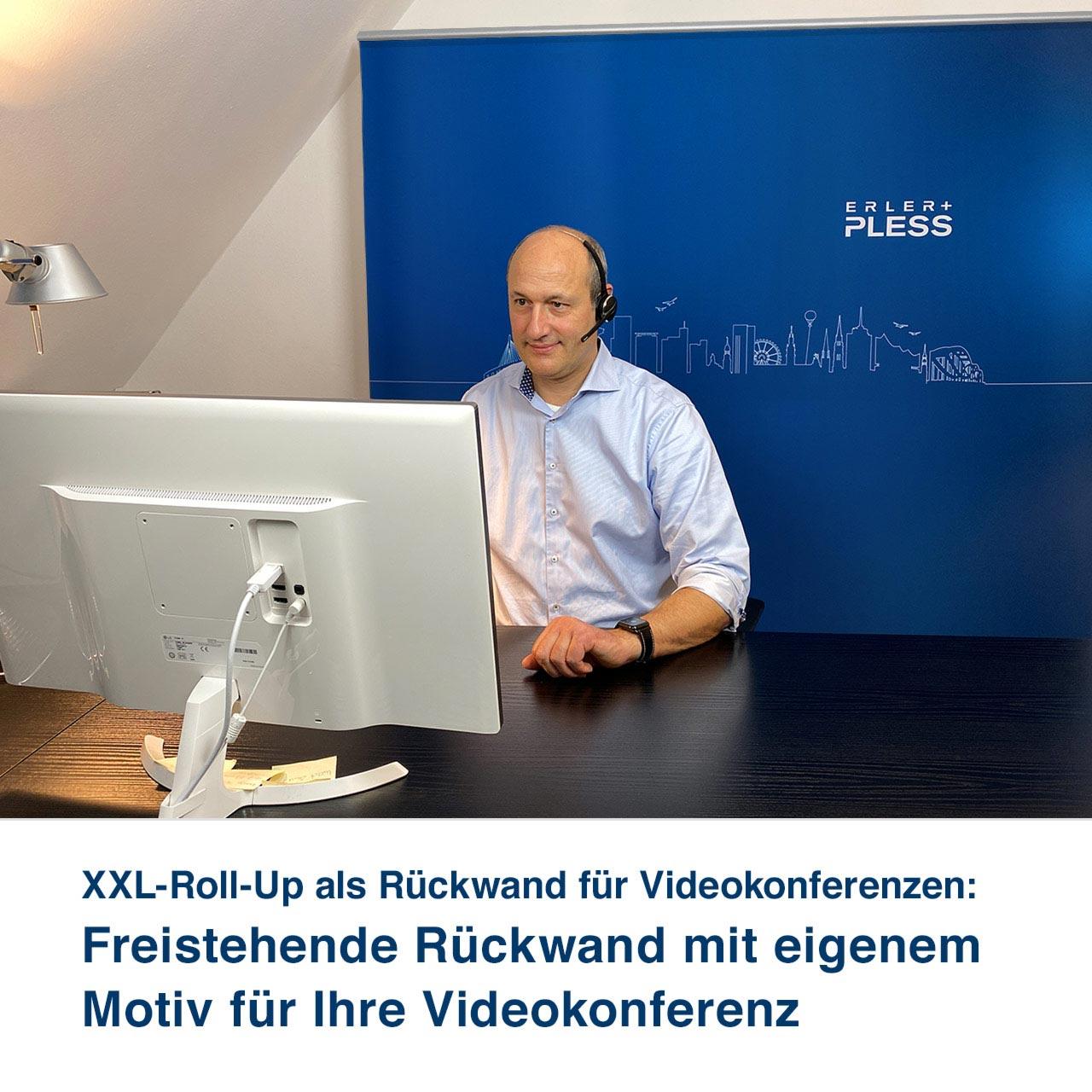 XXL-Roll-Up als Rückwand für Videokonferenzen:   Freistehende Rückwand mit eigenem Motiv für Ihre Videokonferenz