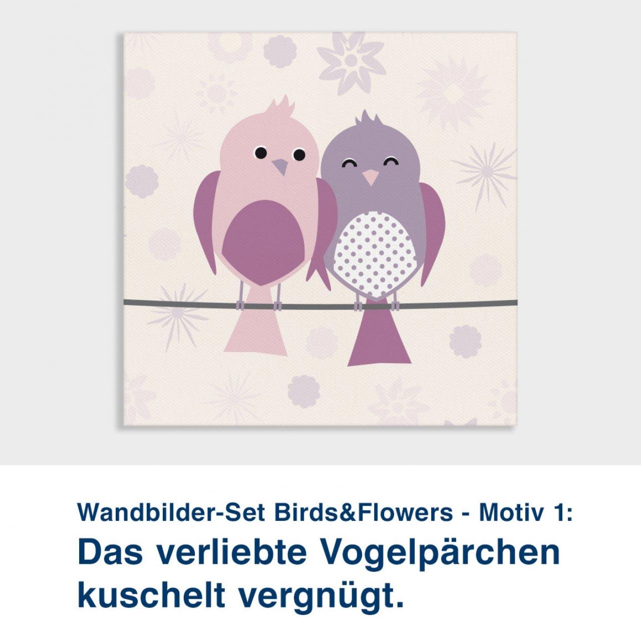 Wandbilder-Set Birds&Flowers - Motiv 1:  Das verliebte Vogelpärchen  kuschelt vergnügt.