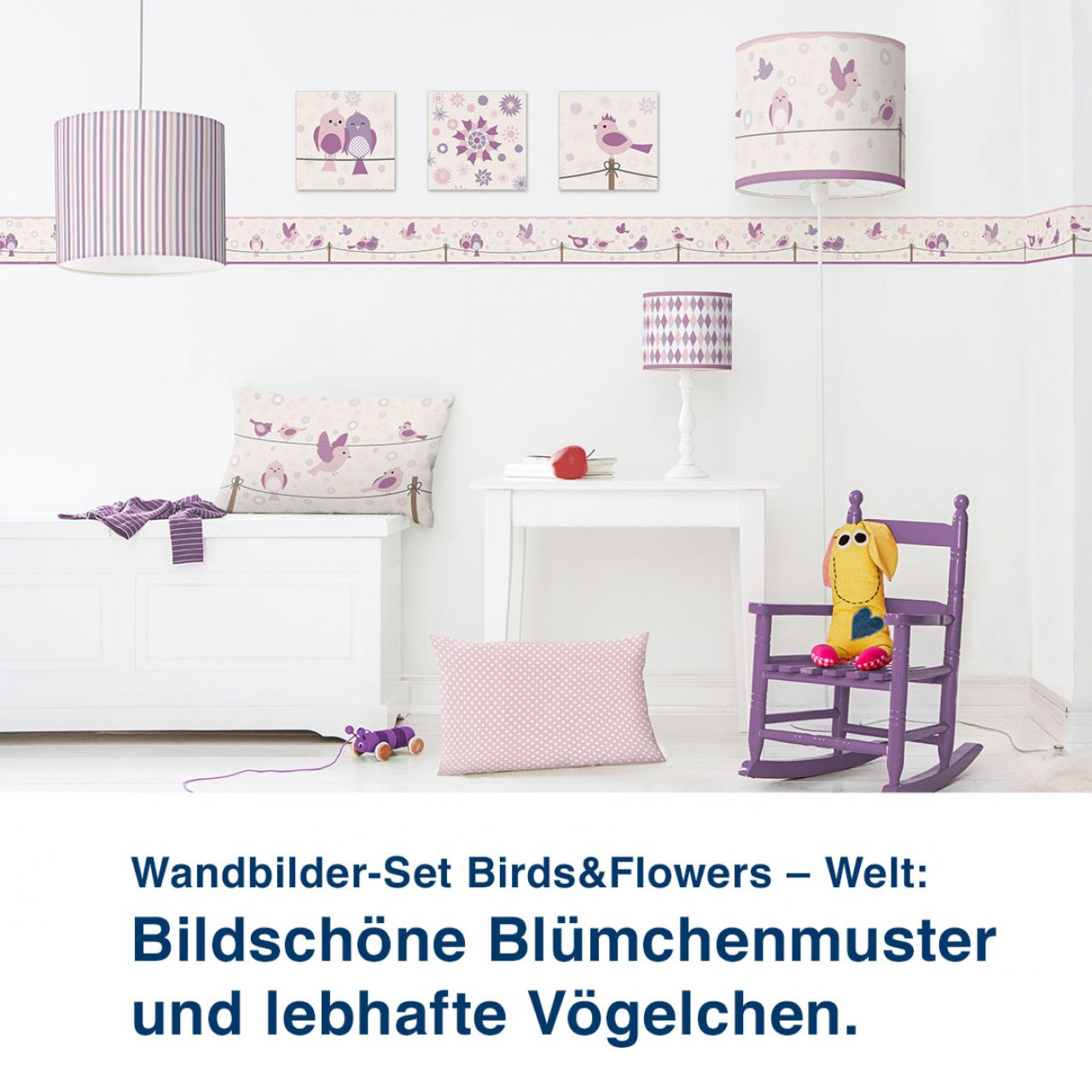 Wandbilder-Set Birds&Flowers – Welt:  Bildschöne Blümchenmuster  und lebhafte Vögelchen.