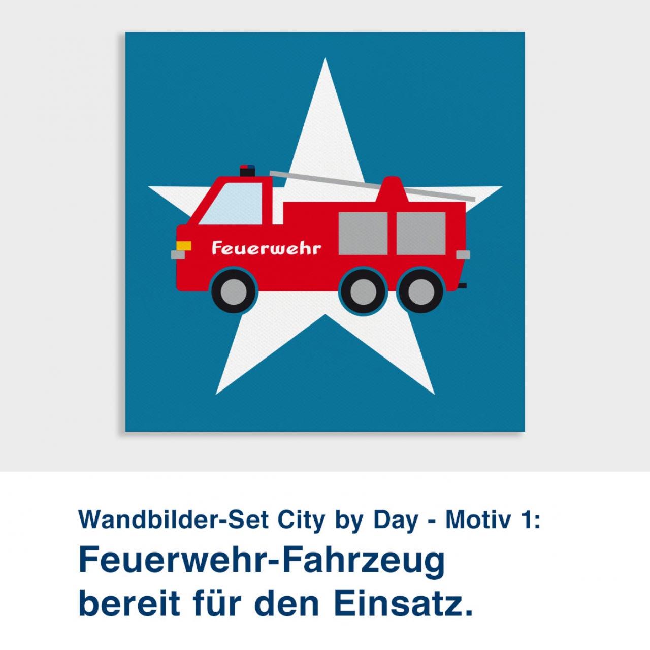 Wandbilder-Set City by Day - Motiv 1:  Feuerwehr-Fahrzeug bereit für den Einsatz.