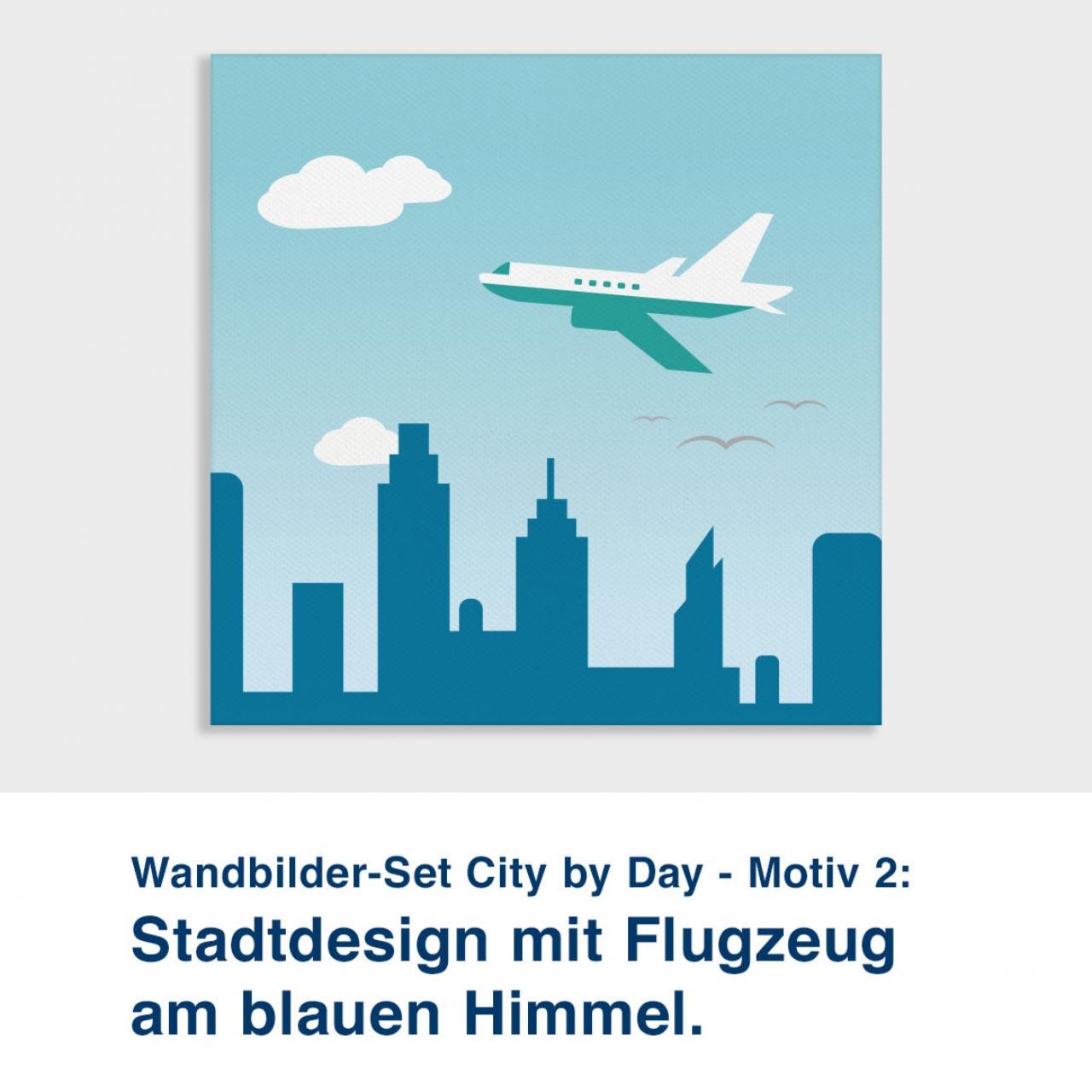Wandbilder-Set City by Day - Motiv 2:  Stadtdesign mit Flugzeug am blauen Himmel.