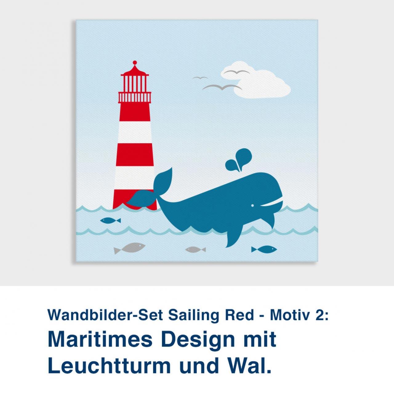 Wandbilder-Set Sailing Red - Motiv 2:  Maritimes Design mit  Leuchtturm und Wal.