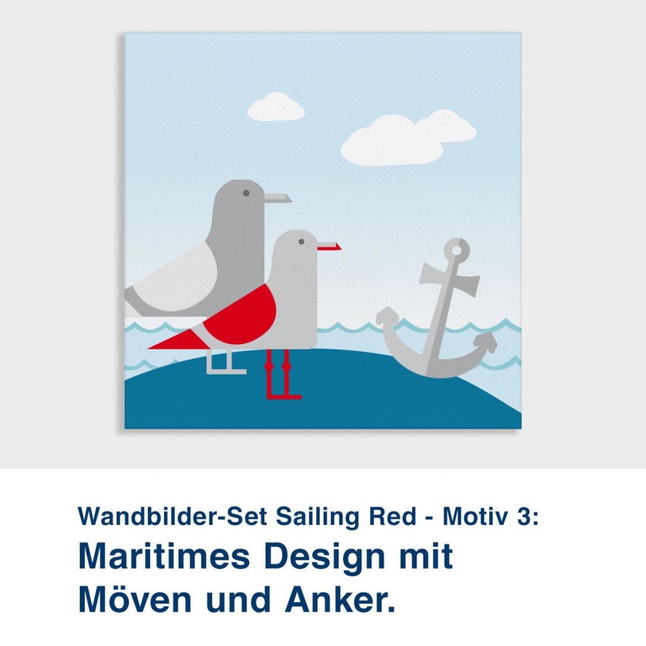 Wandbilder-Set Sailing Red - Motiv 3:  Maritimes Design mit  Möven und Anker.