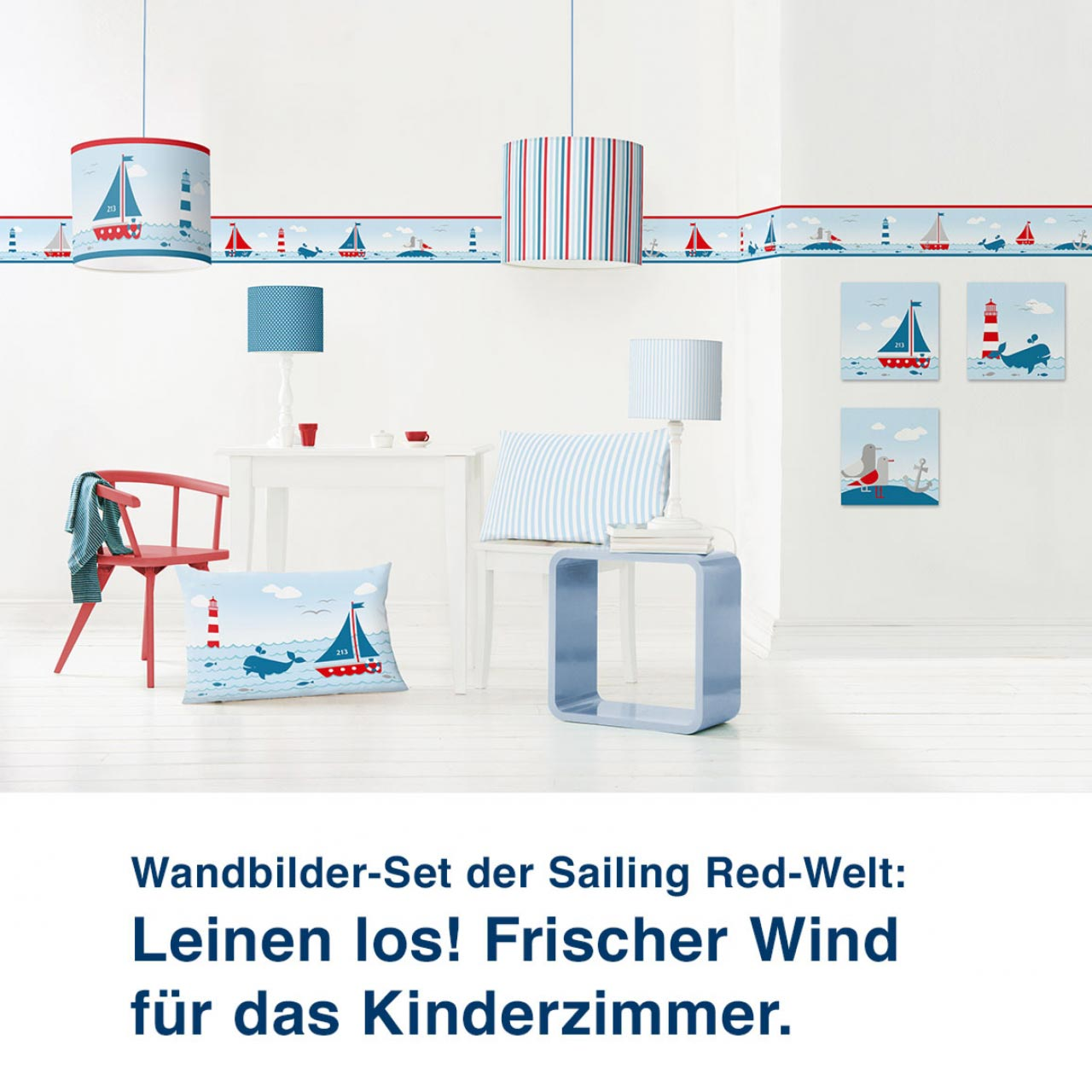 Wandbilder-Set im maritimen Design, Sailing Red