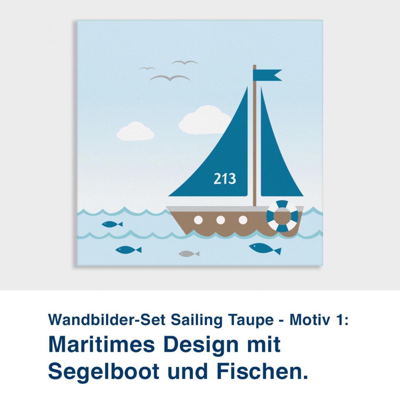 Wandbilder-Set Sailing Taupe - Motiv 1:  Maritimes Design mit  Segelboot und Fischen.