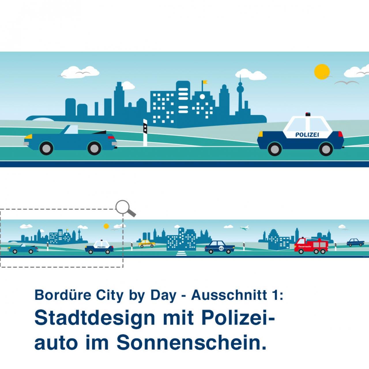 Bordüre City by Day - Ausschnitt 1:   Stadtdesign mit Polizei- auto im Sonnenschein.