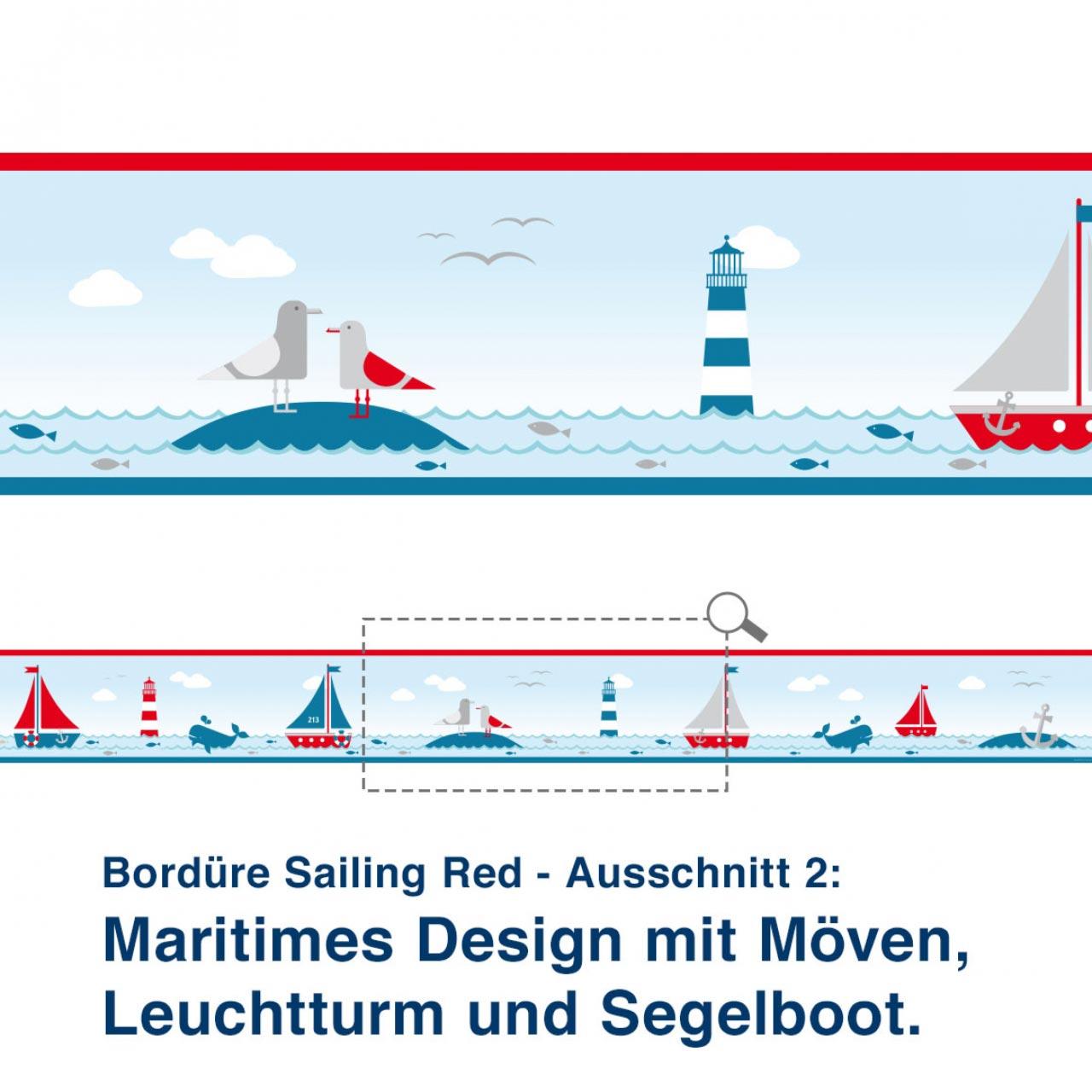 Bordüre Sailing Red - Ausschnitt 2:   Maritimes Design mit Möven, Leuchtturm und Segelboot.