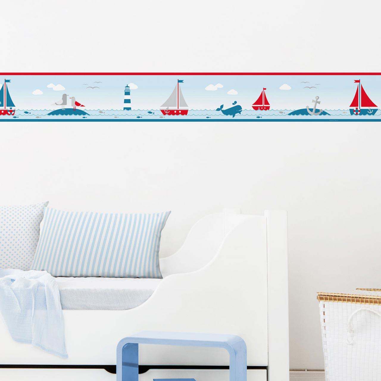 Bordüre im maritimen Design mit Leuchtturm, Sailing Red