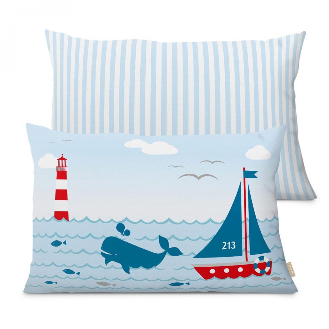 Kissen, maritimes Design mit Leuchtturm, Sailing Red 60 x40 cm