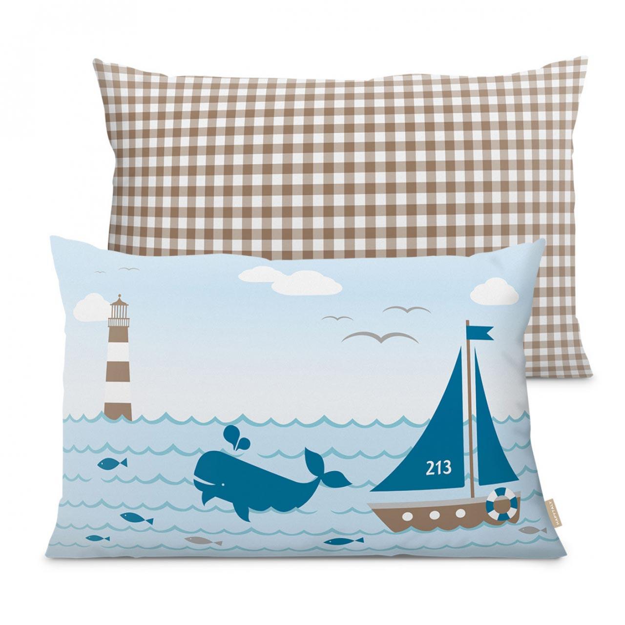 Kissen, maritimes Design mit Leuchtturm, Sailing Taupe 60 x 40 cm