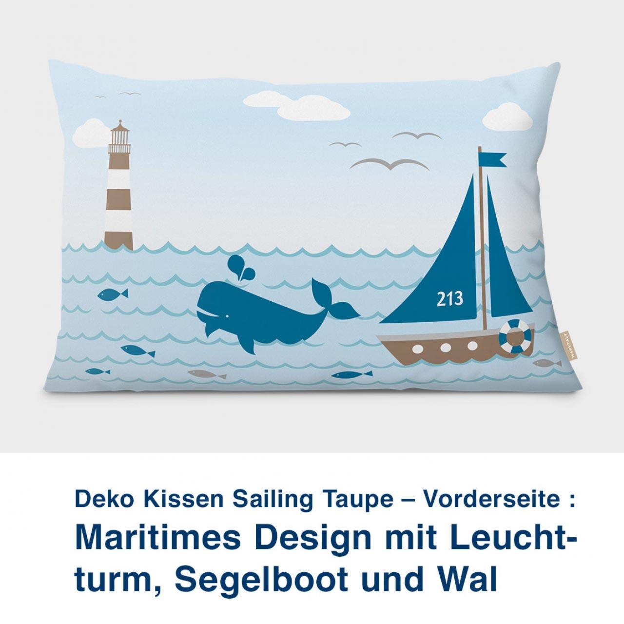 Kissen-Vorderseite, maritimes Design mit Leuchtturm, Sailing Taupe 60 x 40 cm