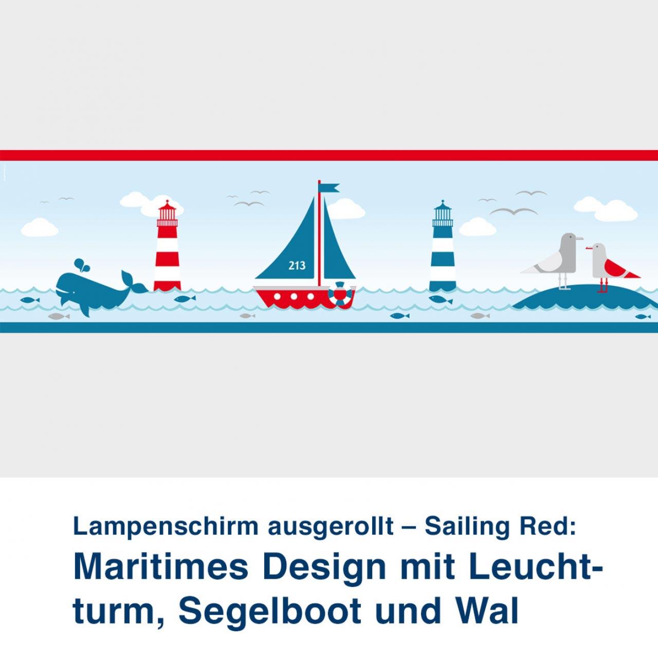 Lampenschirm ausgerollt, im maritimen Design mit Leuchtturm, Sailing Red - ø 16 cm x 13,8 cm