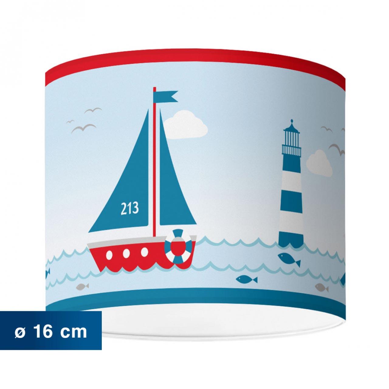 Lampenschirm im maritimen Design mit Leuchtturm, Sailing Red - ø 16 cm x 13,8 cm