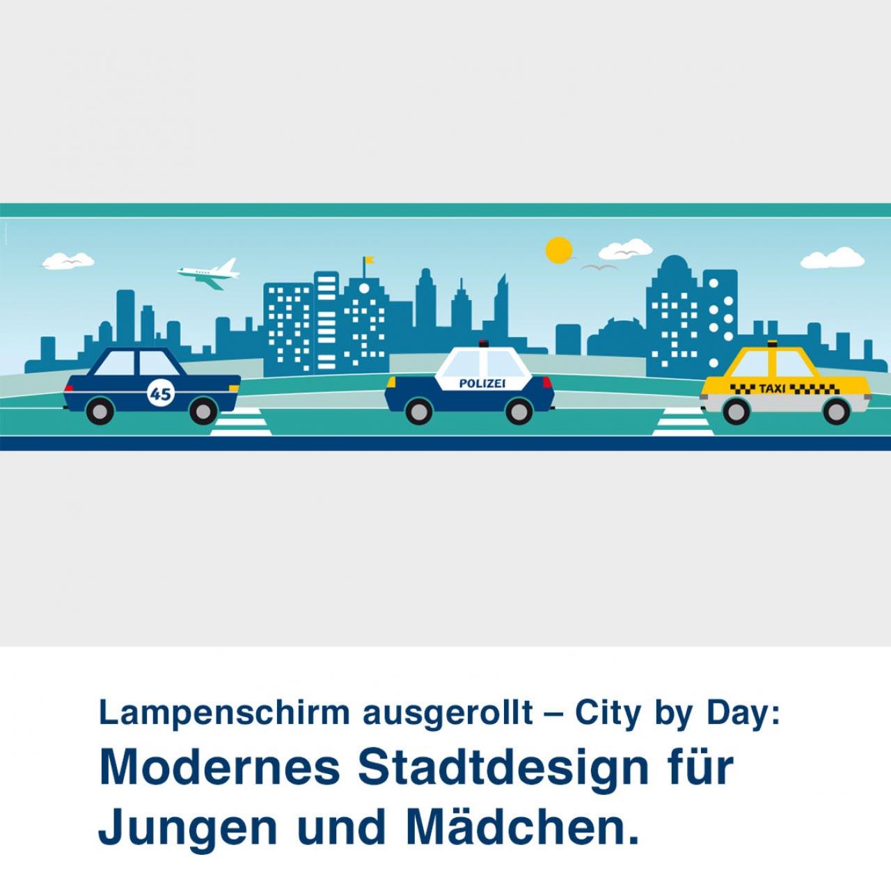 Lampenschirm ausgerollt mit Stadtmotiv, City by Day - ø 16 cm x 13,8 cm