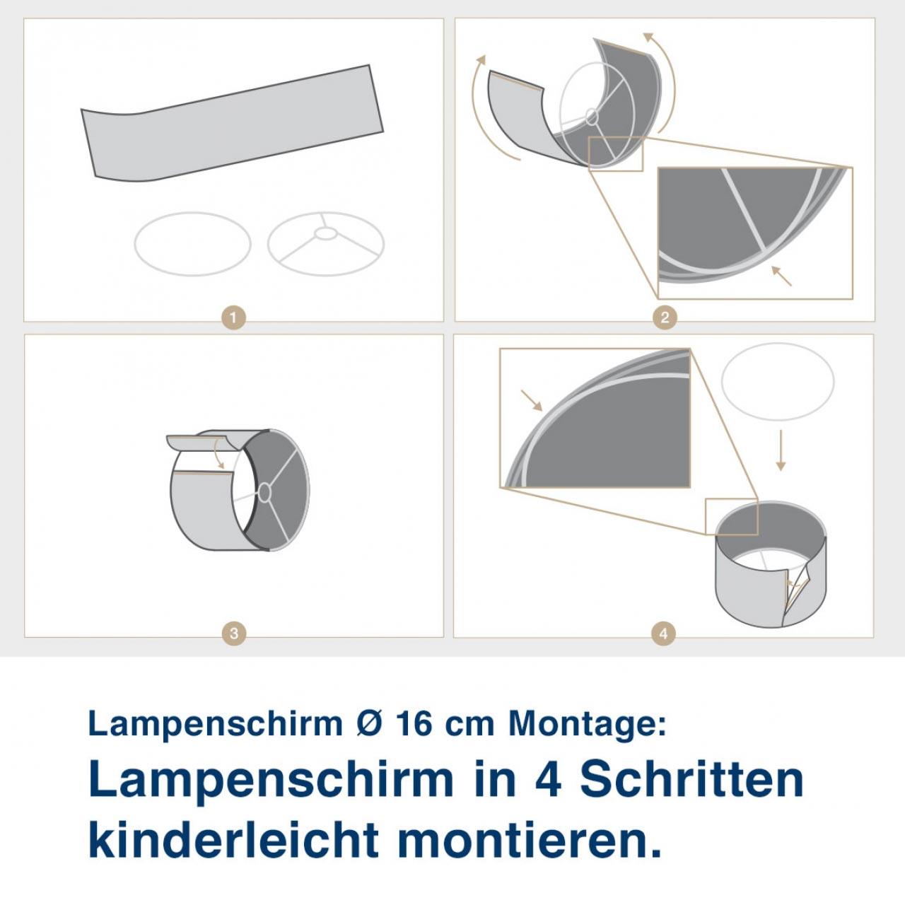 Aufbauanleitung für Lampenschirm mit Stadtmotiv, City by Day - ø 16 cm x 13,8 cm