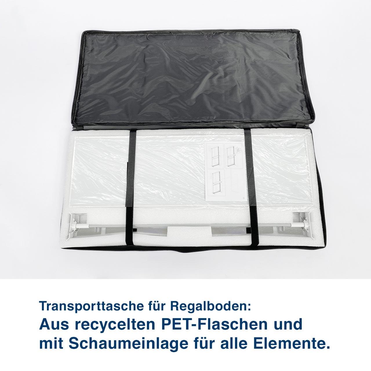 Transporttasche für Regalboden:  Aus recycelten PET-Flaschen und  mit Schaumeinlage für alle Elemente.