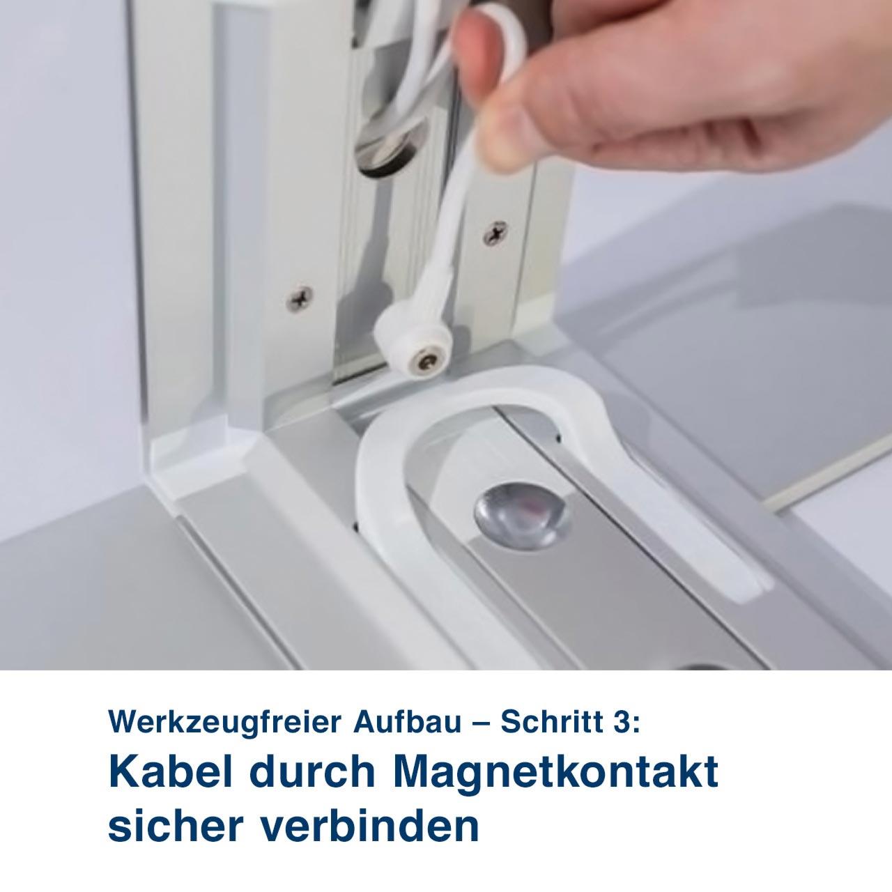 Mobile Light Box – Werkzeugfreier Aufbau – Schritt 3:  Kabel durch Magnetkontakt sicher verbinden