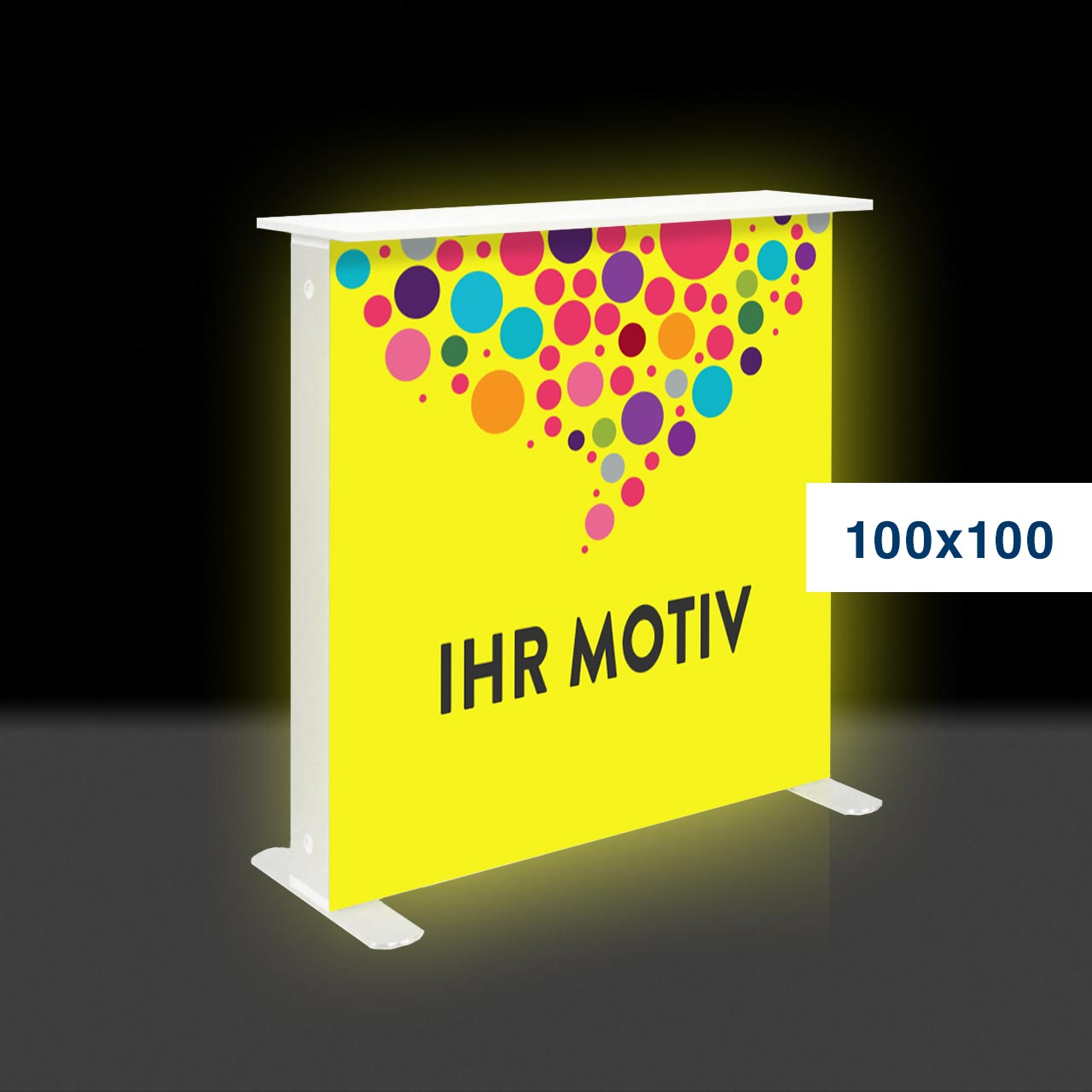 Die leuchtende mobile Messetheke – Mobile Light Box 100x100 Counter