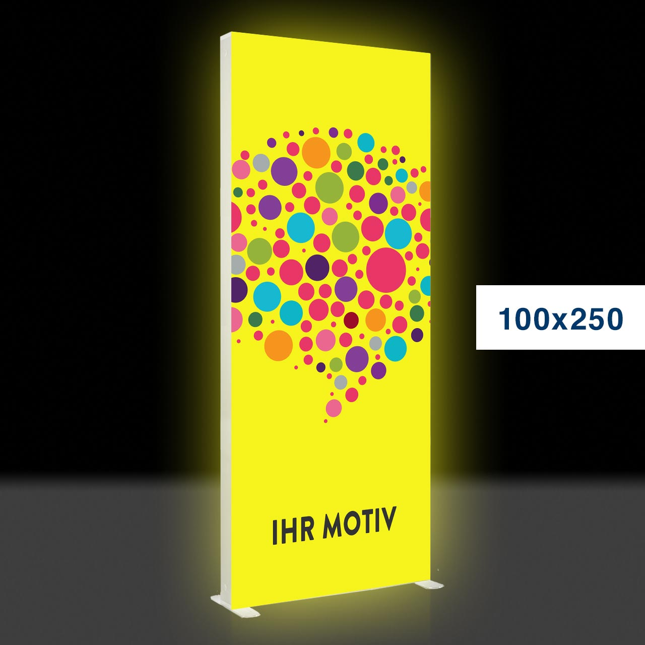 Mobile Light Box im Format 100 × 250 cm mit Textildruck