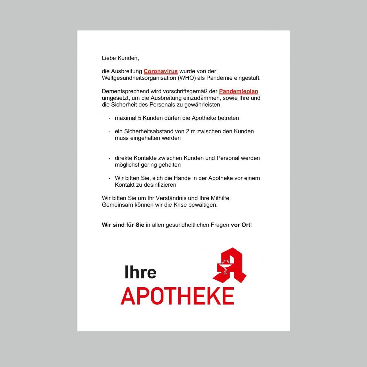 Poster - Pandemie-Hinweise für Gehwegaufsteller